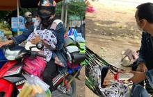 """Người bố một mình địu con 2 tuổi đi xe máy hồi hương: """"Nó nhớ hơi mẹ, cứ khóc suốt"""""""