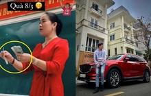 """Cô giáo """"gây sốt"""" khi cầm tiền thưởng 100.000 phát cho học sinh, ngoài đời có con trai cực phẩm được netizen rần rần xin info"""