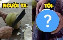 """Ai bảo người Việt chỉ biết bổ dừa """"mạnh bạo"""", nhìn cô gái này gọt quả mà dân tình chắp tay bái phục vì quá """"mượt"""""""