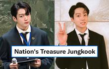 """Jungkook (BTS) bùng nổ visual, từ khóa """"Bảo vật quốc gia"""" leo top 1 trending toàn cầu sau màn xuất hiện quá bảnh tại Liên Hợp Quốc"""
