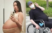"""Mỹ nhân Hàn khoe vòng 2 """"muốn nổ tung"""" vì mang thai sinh ba, tăng tới 44kg và phải ngồi xe lăn di chuyển"""