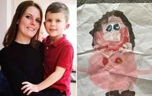"""Con trai vẽ hình mẹ rồi lên khoe cho cả lớp xem, người phụ nữ đứng bên dưới xấu hổ """"muốn độn thổ"""" vì câu trả lời ngô nghê của con"""