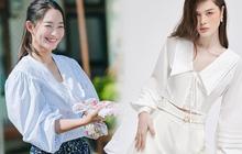 Áo cổ bèo giống Shin Min Ah xinh quá là xinh, nhiều mẫu chỉ từ 100k là mua được