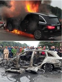 Hà Nội: Mercedes GLC 250 bốc cháy kinh hoàng sau va chạm liên hoàn khiến 1 phụ nữ tử vong, giao thông ùn tắc nghiêm trọng