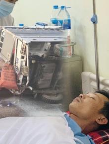 Gặp nạn trên đường cứu trợ lũ lụt miền Trung, tài xế bị chấn thương sọ não