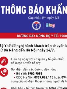 Khẩn: Bộ Y tế tìm kiếm những hành khách trên chuyến bay VN7198 từ Đà Nẵng đến Hà Nội ngày 24/7