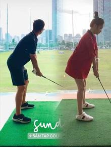 Ảnh độc quyền Hương Giang - Matt Liu: Đi đánh golf chung, chàng gửi hoa tặng nàng!