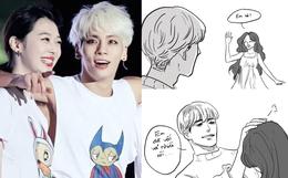 """Truyện tranh về Jonghyun và Sulli - 2 idol gặp nhau ở 1 thế giới khác: """"Em đã vất vả nhiều rồi, ở đây tóc tai màu gì cũng được"""""""
