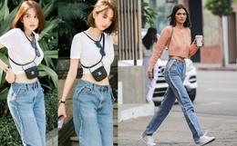 """Khoe quần jeans """"trước sau như một"""", tưởng không ai dám mặc hóa ra Ngọc Trinh lại đụng hàng với Kendall Jenner"""