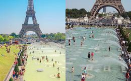 Trời quá nóng, chân tháp Eiffel biến thành… bể bơi khổng lồ, người dân và du khách kéo đến đông nghịt