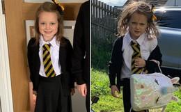 Trở về nhà sau buổi học đầu tiên với bộ dạng tã tượi thê thảm, cô bé 5 tuổi khiến dân mạng bật cười nhớ lại tuổi thơ
