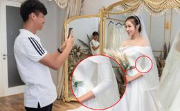 Văn Đức đưa Nhật Linh đi thử váy cưới, nhan sắc cô dâu không cần bàn cãi nhưng sao nhìn vòng eo trông cứ sai sai