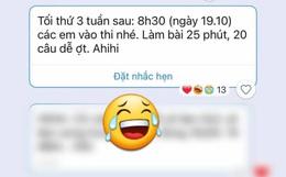 Cô giáo thông báo lịch thi online vào buổi tối, tiện tay gửi kèm 1 dòng tin nhắn làm tụi học trò tức anh ách
