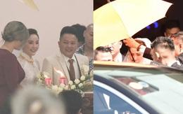Đám cưới Bảo Thy: Sau lễ tại nhà thờ, bảo vệ căng dù che kín hình ảnh cô dâu về nhà chồng