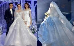 Cận cảnh 3 bộ váy cưới của Bảo Thy: Bộ nào cũng ren hoa yêu kiều, váy cưới chính cực đồ sộ lộng lẫy