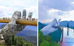 """Xuất hiện """"cầu Vàng Đà Nẵng"""" bản nhái ở Trung Quốc, chỉ khác nhau mỗi một ngón tay"""