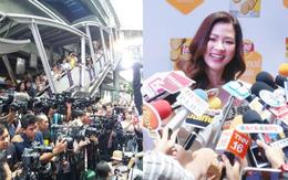 """Choáng khung cảnh mỹ nhân """"Chiếc lá bay"""" dự sự kiện: Hàng chục máy quay đều tăm tắp, người dân vây kín ga BTS ở Thái"""