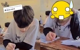 Nam sinh điển trai cúi gằm mặt khi học bài, nhưng ai cũng sốc nặng khi chàng trai lỡ giơ tay vuốt tóc