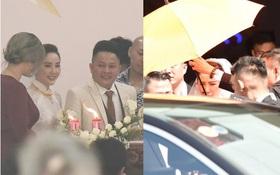 Trực tiếp đám cưới Bảo Thy: Sau lễ tại nhà thờ, bảo vệ căng dù che kín hình ảnh cô dâu về nhà chồng