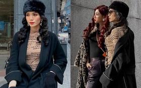 """""""Chị chị em em"""" BB Trần - Hải Triều: Giả gái đỉnh cao, thần thái sang chảnh ngút ngàn trên đường phố Hàn Quốc"""