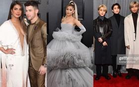 """Siêu thảm đỏ Grammy 2020: Ariana Grande chặt chém với đầm cồng kềnh, BTS """"gây nổ"""" bên vợ chồng Nick Jonas và Hoa hậu"""