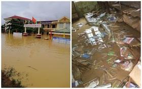 """Khung cảnh trường học sau trận """"đại hồng thuỷ"""" tại Quảng Trị: Cơ sở vật chất hư hỏng, sách vở, đồ dùng học tập ngập ngụa bùn đất"""