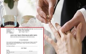 Từ 16⁄7, giấy xác nhận độc thân phải ghi tên người dự định cưới