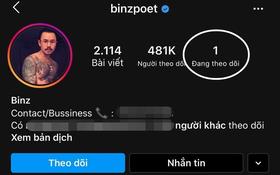Như 1 lời khẳng định, Binz đã follow duy nhất Châu Bùi trên IG sau tin hẹn hò