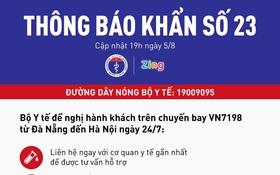 Khẩn: Bộ Y tế tìm kiếm những hành khách trên chuyến bay VN7198 từ Đà Nẵng đến Hà Nội ngày 24⁄7