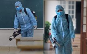 Cận cảnh quá trình phun sát khuẩn phòng thi, điểm thi THPT Quốc gia 2020 tại Hà Nội