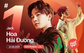 Lên sóng chưa lâu, Hoa Hải Đường của Jack đã debut #1 BXH Realtime HOT14, đạt gần 3 triệu view trên YouTube