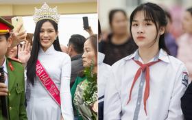 Nữ sinh cấp 2 chiếm spotlight trong ngày đón Hoa hậu Đỗ Thị Hà về quê, hạt giống nhan sắc tương lai quá!