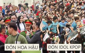"""Nhìn Hoa hậu Đỗ Thị Hà về làng mà tưởng biển fan đón idol Kpop: Bà con vây kín cả khu vực, các bác gái """"lên đồ"""" như đồng phục fandom"""