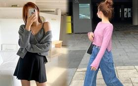 """4 chiêu mix đồ với áo len crop top mà gái Hàn """"quẩy"""" thường xuyên, bạn nên ghim để lên đồ cho xịn"""