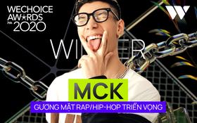 """MCK """"ẵm"""" giải thưởng đầu tiên trong sự nghiệp, là Gương mặt Rap⁄Hip-hop triển vọng tại WeChoice Awards 2020"""