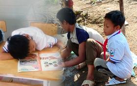 Xót thương cậu bé vùng cao bị lệch xương sống phải nằm bò ra bàn học bài, đi bộ 8km đến trường mất hơn 4 tiếng
