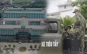 Ảnh: Lực lượng quân đội đã có mặt chuẩn bị phun tiêu độc khử khuẩn sau khi ghi nhận 10 ca dương tính SARS-CoV-2 tại Bệnh viện K Tân Triều