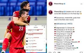 Instagram chính thức của FIFA đăng ảnh khoảnh khắc ăn mừng của đội tuyển Việt Nam, cộng đồng mạng Việt rần rần tự hào!
