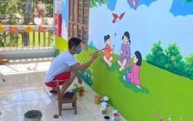 Đi cách ly tại trường mầm non, thầy giáo biến những bức tường bong tróc thành tranh vẽ đáng yêu hết nấc!