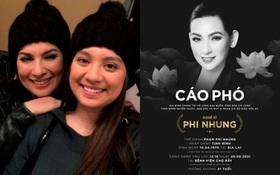 Con gái ruột công bố cáo phó của ca sĩ Phi Nhung