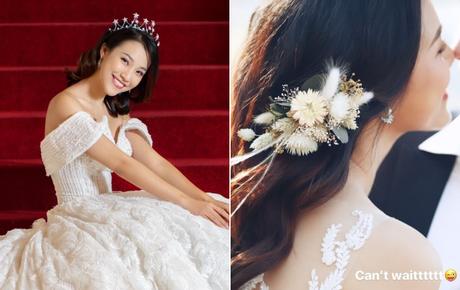 MC Hoàng Oanh hé lộ ảnh cưới, vẫn chưa rõ mặt chú rể nhưng nhìn chiếc mũi đã biết cực phẩm
