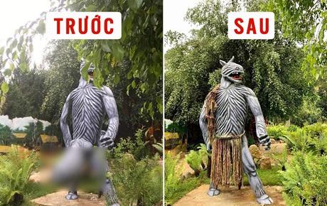 """Sau khi bị chê phản cảm, hiện tại khu du lịch Quỷ Núi gần Đà Lạt đã mặc """"quần áo"""" cho các bức tượng"""