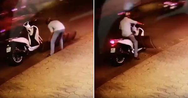 Hà Nội: Thanh niên bảnh bao đi SH bê trộm chiếc cầu dắt xe vừa to vừa nặng giữa đường