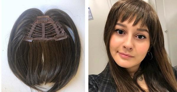 """Diện thử tóc mái giả, cô nàng này đã phải bất ngờ vì kết quả tự nhiên và """"lừa"""" được khối đồng nghiệp"""