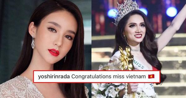 Đối thủ nặng ký Yoshi Rinrada chúc mừng Tân Hoa hậu Hương Giang