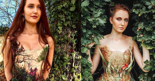Nhìn những bộ váy đẹp lung linh, không ai ngờ rằng chúng lại được làm từ gỗ, giấy hay kim loại