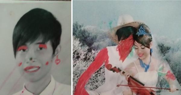 Khi con gái nhầm album ảnh cưới của bố mẹ là vở tập tô: Bố hoá dân da đỏ, mẹ xăm trổ đầy người