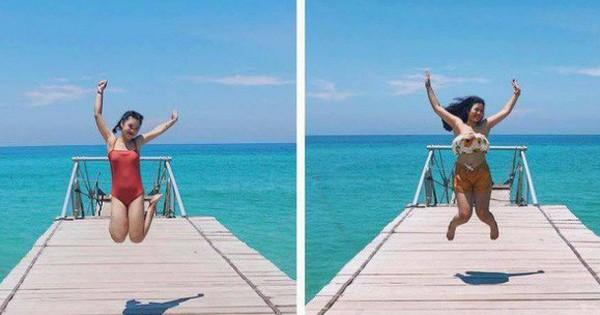 Góc chị em tốt: Nếu có mỗi 2 đứa đi du lịch với nhau thì đành phải thay phiên chụp ảnh thật có tâm rồi ghép vậy!