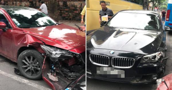Hà Nội: Hai xế hộp đọ xem đầu ai cứng hơn giữa phố, kết quả BMW 1 – 0 Mazda
