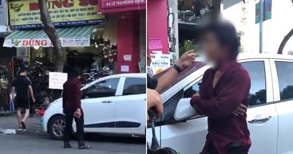 """Góc biến hình: Thanh niên hổ báo đập vỡ cửa kính ô tô vì làm """"vướng đường"""" rồi lập tức """"hóa mèo"""" khi lực lượng chức năng xuất hiện"""